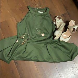 EUC Copper Key Army Green Skater Dress Medium